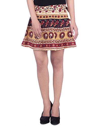 MSONS Women's Red Bagru Printed Mini Rapron Skirt in Cotton Fabric for Slim Girls  available at amazon for Rs.278