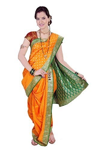 Bhartiya Vastra Bhandar Women's Ready to wear Nauvari Saree(DNo7_BobyNimzariGold_Multi-Coloured_FreeSize)