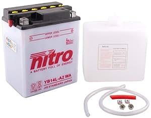 NITRO YB14L-A2 WA -N- Batterie Moto Ouvert avec Pack Acide