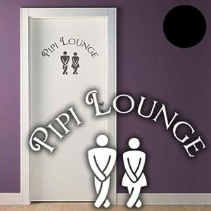 """A651 Tür-/Wandtattoo """"Pipi Lounge"""" 30cm x 20cm schwarz (erhältlich in 40 Farben und 3 Größen)"""