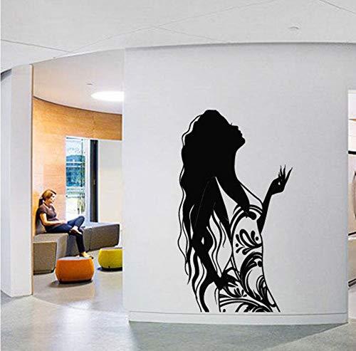 Lockiges Mädchen Mode Dress Up Entfernbare Wandaufkleber Für Schönheitssalon Kunst Decals Vinyl Wanddekor Windows Murals Ta709 57 * 99 Cm Farbe Größe Kann Angepasst Werden ()