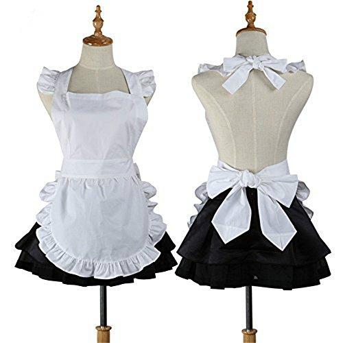 ecosway Cute Weiß Retro Baumwolle Küche Restaurant Arbeit Schürzen Kellnerin Schürze Cosplay Kostüm für Frauen Mädchen Küche Kochen Backen Reinigung