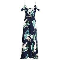 TCQJOG Backless Tie Up Ruffles Print Long Summer Dress Strap V Neck High Split Maxi Dress Summer Beach Chiffon Dress S Navy Blue