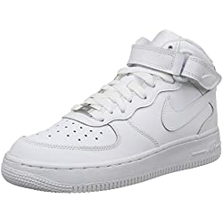 Nike - Zapatillas de baloncesto AIR FORCE 1 MID (GS) , Infantil , Blanco (WHITE), Blanco (WHITE), 38