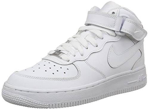Nike AIR FORCE 1 MID (GS), Unisex-Kinder Sneakers, Weiß, 37.5 EU