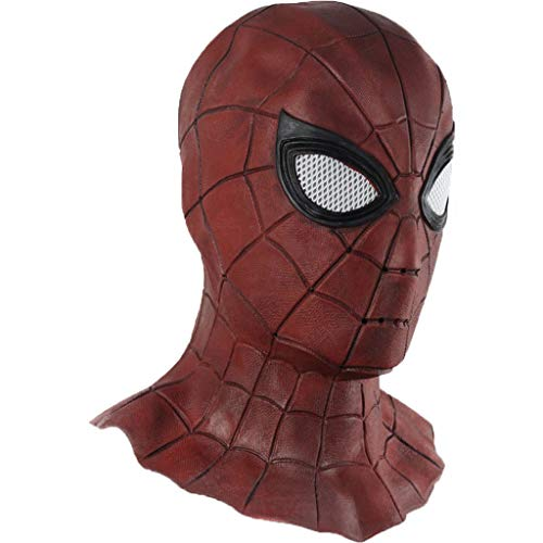 QWEASZER Red Spider-Man Mask 2019 Weit entfernt von Maske Kopfbedeckung Cosplay Halloween Maske Helm Requisiten Filme Latex Erwachsene Dress Up Movie Character,Red-OneSize (Superheld 2019 Halloween-kostüme)
