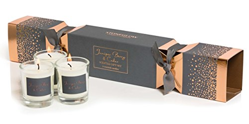 Glas Seasonal???Juniper Berry & Cedar Cracker Geschenk Set???Pack von 3?Kerzen Glas-cracker