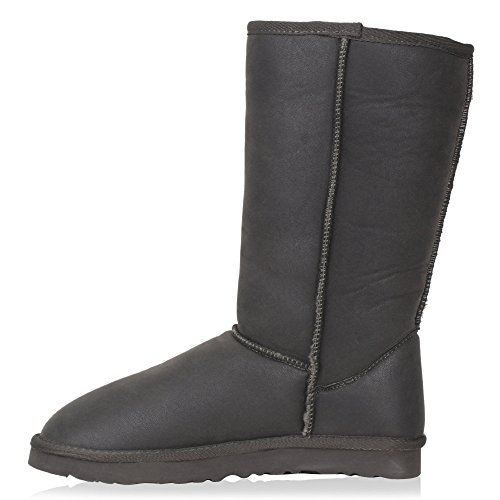 Damen Stiefel Profilsohle Schlupfstiefel Grau