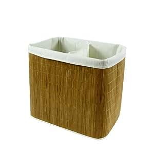 Panier à linge - Double compartiment - Toile et bambou