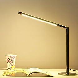 Lychee 5W LED lampada da tavolo 48 SMD LED dimmerabili Desk Lamp con 3 livelli di luminosità regolabile per la protezione degli occhi (bianco caldo, spina di UE, passione Nero)