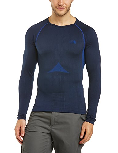 The North Face Herren Baselayer Hybrid Long Sleeve Crew Neck, Cosmic Blue, L/XL, T0C206