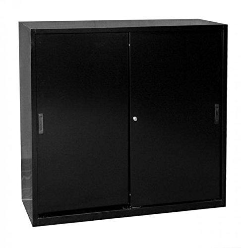 550149 Schiebetürenschrank Schiebetüren Büro Lüllmann Aktenschrank Sideboard aus Stahl schwarz