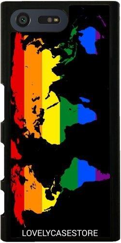 Hülle für Sony Xperia X Compact - LGBT Weltkarte - Lesbische Homosexuell Bisexuelle Transgender Flagge