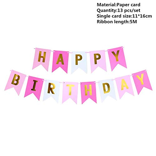 Banners, Streamers & Confetti - Happy Birthday Banner Garland Hanging Pink Gold Letters Photo Props Party Event Favors Flags Decor - Streamers Banners Streamers Confetti Party Banner Fabri