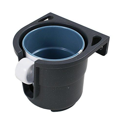 Lalizas - Getränke-Halterung für | Flaschen | Dosen | bis max. 9 cm Durchmesser | breites Einsatzspektrum | Auto | KFZ | Camping | Boot | in den Farben | Grau oder Weiß | inkl. Montageplatte (Grau)