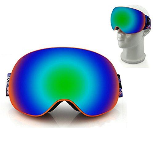 Anti-Nebel Snowboardbrille,CAMTOA Outdoor PC Sportbrille zweistöckig Weitwinkel Wasserdicht Snowboardbrille,UV-Beständigkeit Stoßfest UV 400 Radsportbrille, schneebrille für Damen Herren Jungen