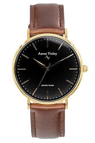 AARON VINLEY Stockholm schwarz Gold 40mm Bauhaus Stil Armbanduhr analog minimalistisch Lederarmband...