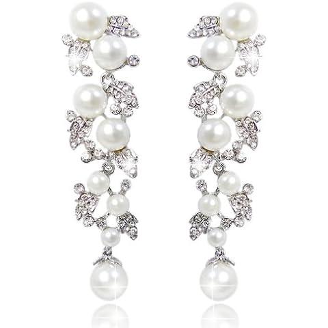 Ever Faith Austriaco di cristallo simulato perla color avorio Fiore Anelli dell