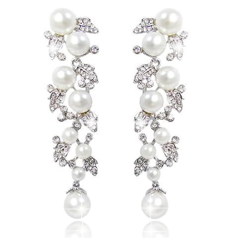 EVER FAITH® Women's Austrian Crystal Cream Simulated Pearl Flower Pierced Earrings Clear