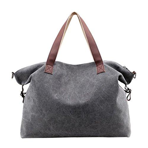 dikewang Frauen mehr Kapazität Leinwand Umhängetasche Vintage Canvas Tote Handtaschen Big Bag, perfekt für Tagestouren, Urlaub, Reisen Einheitsgröße grau (Big Canvas Tote Zubehör)