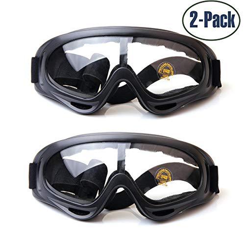 Yithings Skibrille, 2 Pack Snowboard Brille UV-Schutz Skate Brille Mit UV 400 Schutz Winddicht Und Staubdicht Biegsam mit Gepolstertem Weichschaum Für Damen Und Herren Jungen Und Mädchen (Klar)