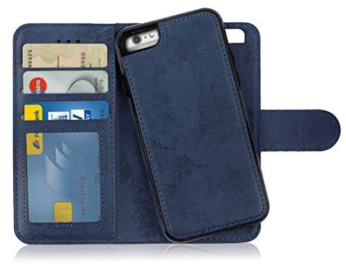 Mygadget custodia flip cover 2in1 magnetic per apple iphone 6 plus / 6s + - portafoglio funzione stand porta carte case similpelle pu removibile - blu scuro