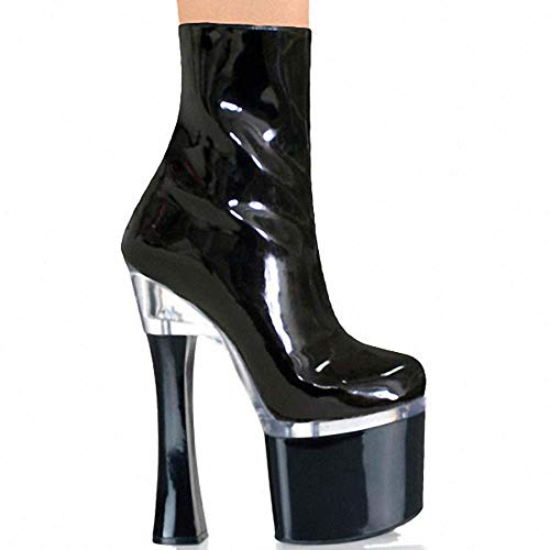 Gasgff Sexy Beinstiefeletten des Superhohen Absatzes, Schwarze Helle PU-Showstadiumsschuhautomodellgroße Weibliche Niedrige Stiefel,Schwarz,35