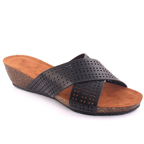 Unze New Women 'Jasmine' Perforated Slide Beach Summer Beach Get Together School Carnival Casual Sandales Slipper Taille UK 3-8 Noir