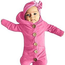 MAYOGO Invierno Mono Mameluco Bebé Niño con Capucha Manga Larga Bodis Pijama Infantil Recién Nacido Niño Bebé Body Hooded Traje de Niño Ropa de Dormir Color sólido, 3-24 Meses