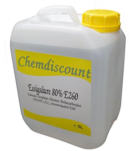 5Liter (ca. 5,4kg) Essigsäure 80%, Lebensmittelqualität E260, versandkostenfrei!