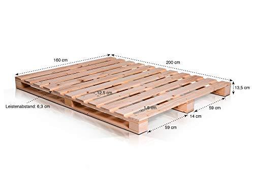 PALETTI Massivholzbett Holzbett Palettenbett Bett aus Paletten – hergestellt in Deutschland – Fichte natur - 6