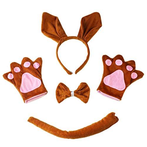 Amosfun Kängurus Kostüm Set Känguru Stirnband mit Ohren Fliege Schwanz Handschuhe Tier Cosplay Kostüm Erwachsene Kostüm 4 Stück (Braun) (Känguru Kostüm Ohren)