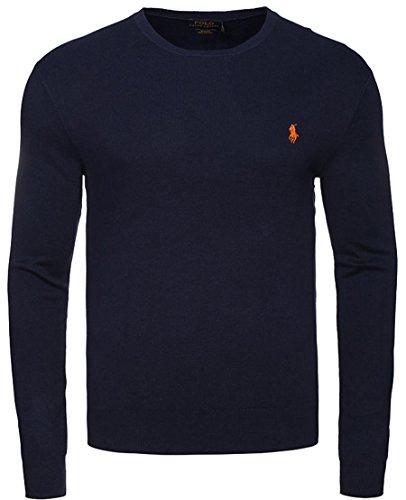 Maglione Uomo POLO RALPH LAUREN NAVY SLIM FIT cotone Pima pullover sweater maniche lunghe (M)
