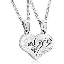 """AnaZoz Joyería de Moda Collar de Unisex Acero Inoxidable 2 Pcs Parejas """"I Love You"""" CZ Amor Corazón Collar Colgante Para Pareja"""