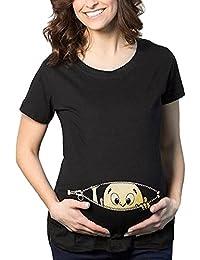 915a2766c LuckyGirls Mujer Embarazada Camisetas Estampado de Bebé Blusa Casual Tops Manga  Corta (XXL