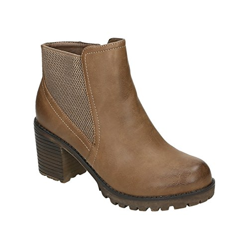 Damen Stiefeletten Ankle Boots Blockabsatz Reißverschluss Leder Optik Khaki