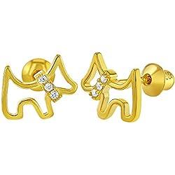 Pendientes de plata de ley 925 con circonita cúbica transparente para perro, cachorro, rosca trasera