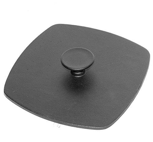 Druckdeckel Presse aus Gusseisen, für Grill-Pfanne Fleischpresse 21x21 cm, 10242