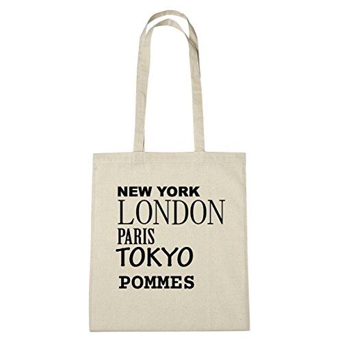 JOllify patatine di cotone felpato B6136 schwarz: New York, London, Paris, Tokyo natur: New York, London, Paris, Tokyo
