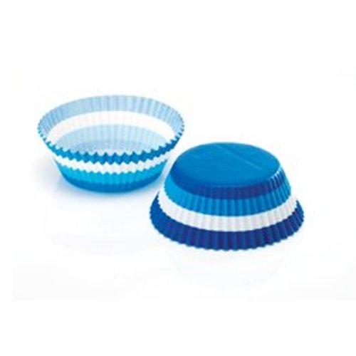 White Paper Cups (60x Eddington Large Paper Baking Cup Cake Cupcake Muffin Cases Blue White Stripe)