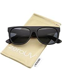 2ce94afb273 zerouv - modern super flat-top wide temple horn rimmed sunglasses 55mm  (matte black