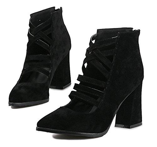 YE Damen Spitze High Heels Wildleder Cut Out Pumps mit Blockabsatz und Reißverschluss 8cm Absatz Schuhe Schwarz