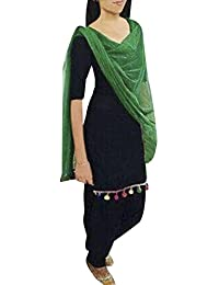 Fabini Daily Wear Pure Cotton Black & Green Free Size Patiala Suit (Semi Stitched)