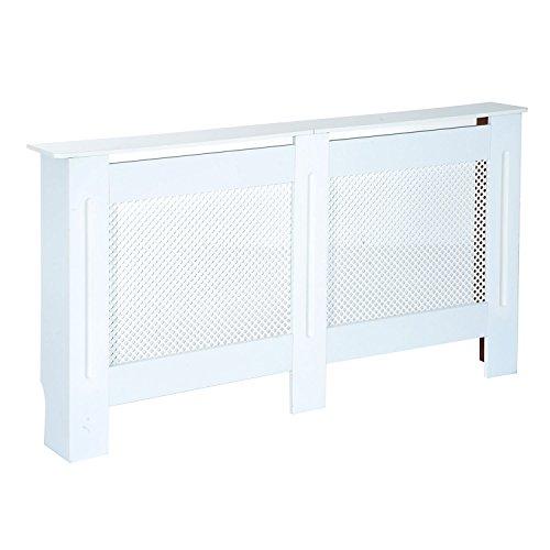 Homcom aus Holz Heizkörper Cover Wärmeschrank Modern Home Möbel Grill Stil Diamant Design Weiß Bemalt, MDF, weiß, Large