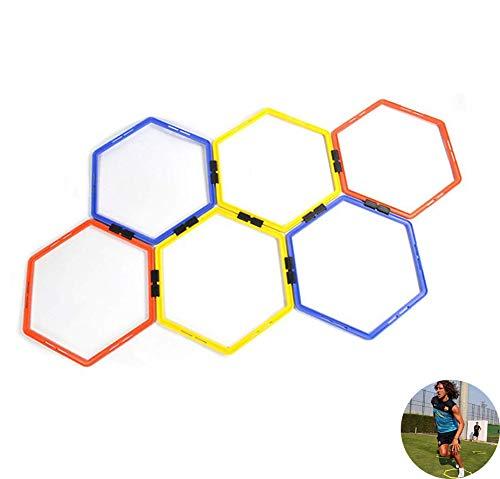 AMhuui Hexagonal Ladder Set, Hexagonal Geschwindigkeit Beweglichkeit Einfache Lagerung, Mobilität, Multi Sport Training Leitern Hürden Ringe Physical Ring -