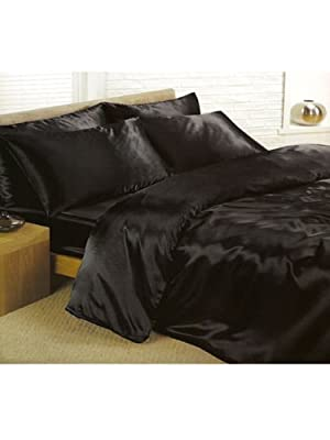 6pc Satin Bedding Black Double Duvet Cover Set (inc 1 duvet cover,1 fitted sheet,4 pillowcases) produced by viceroybedding - quick delivery from UK.