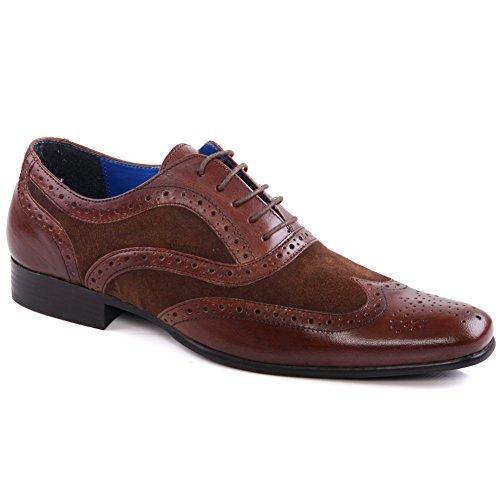 Unze Hommes 'Carn' Cuir Brogue Robe Chaussures Grande-Bretagne Taille 7-11 Brun