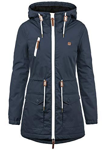 DESIRES Tilonga Damen Übergangsparka Parka Übergangsjacke Lange Jacke mit Kapuze, Größe:XL, Farbe:Insignia Blue (1991)