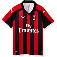 Puma AC Milan Home Replica SS with Sponsor Logo Jersey, Niños, Tango Red/Black, 152