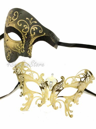 e Couples Venetian Design Masks - 2 Piece Gold Colored Set - Venetian Mardi Gras Party Halloween Ball Prom by VentianMasks by VentianMasks ()